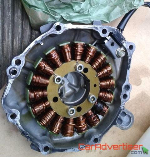 Removed motorcycle stator